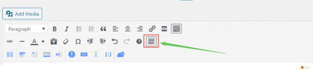 insert align justify on wordpress